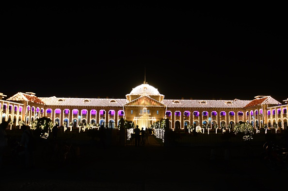 ALLAHABAD, UTTAR PRADESH, INDIA - 2016/03/10: A view of decorated High court building ahead of 150th anniversary celebration in Allahabad. Allahabad Highcourt celebrate 150th anniversary on 13th March. The Allahabad High Court or the High Court of Judicature at Allahabad is a high court based in Allahabad that has jurisdiction over the Indian state of Uttar Pradesh, it is one of the first high courts to be established in India. (Photo by Prabhat Kumar Verma/Pacific Press/LightRocket via Getty Images)